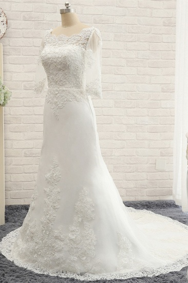 Affordable Jewel White Tulle Lace Wedding Dress Half Sleeves Appliques Bridal Gowns Online_3
