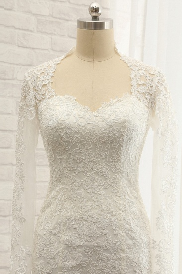 BMbridal Modest Longsleeves White Mermaid Wedding Dresses Satin Lace Bridal Gowns With Appliques Online_4