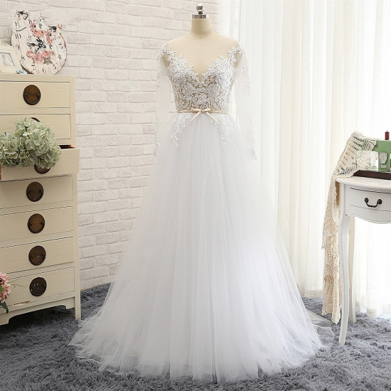 Affordable White Tulle Ruffles Lace Wedding Dresses Jewel Longsleeves Bridal Gowns With Appliques On Sale_7