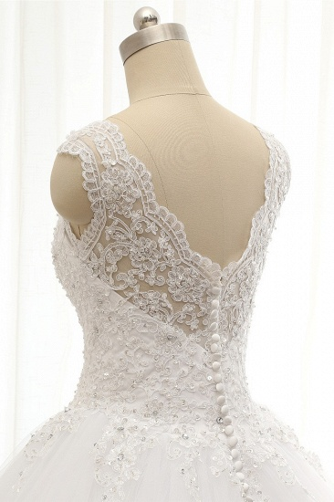 Chic Straps V-Neck Tulle Lace Wedding Dress Sleeveless Appliques Beadings Bridal Gowns On Sale_6