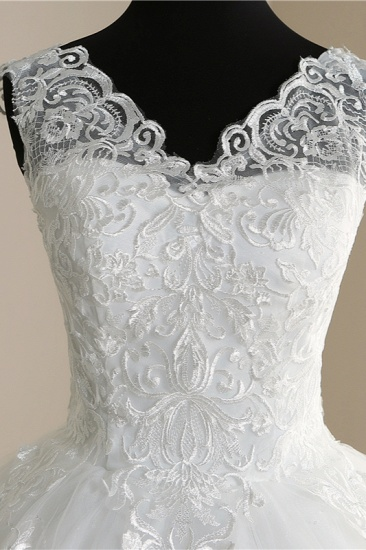 BMbridal Elegant V-Neck Tull Lace White Wedding Dress Sleeveless Appliques Bridal Gowns On Sale_6