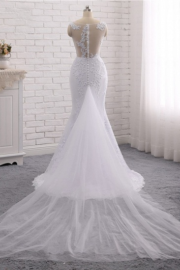 BMbridal Stylish Jewel Mermaid Lace Appliques Wedding Dress White Sleeveless Beadings Bridal Gowns with Overskirt On Sale_6