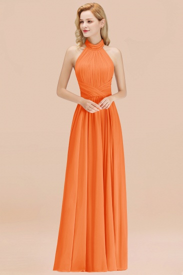Gorgeous High-Neck Halter Backless Bridesmaid Dress Dusty Rose Chiffon Maid of Honor Dress_15