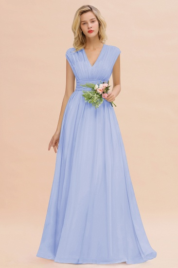 Elegant Chiffon V-Neck Ruffle Long Bridesmaid Dresses Affordable_22