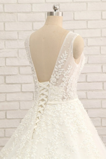 Gorgeous Straps Sleeveless White Wedding Dresses With Appliques A-line Tulle Ruffles Bridal Gowns Online_6