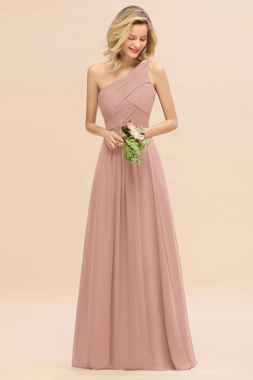 Chic One Shoulder Ruffle Grape Chiffon Bridesmaid Dresses Online_6