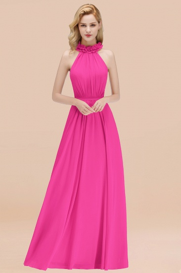 Modest High-Neck Halter Ruffle Chiffon Bridesmaid Dresses Affordable_9