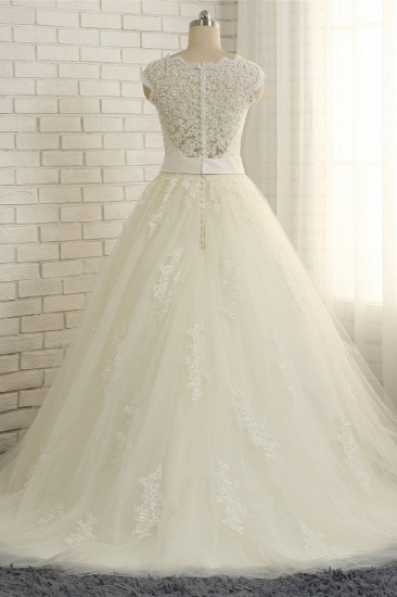 BMbridal Sexy Straps Sleeveless Lace Wedding Dresses With Appliques A line Tulle Ruffles Bridal Gowns On Sale_3