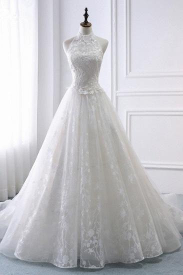 BMbridal Elegant A-Line Halter Tulle White Wedding Dress Sleeveless Appliques Bridal Gowns On Sale_1
