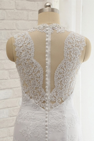 Chic Mermaid V-Neck Lace Wedding Dress Appliques Sleeveless Beadings Bridal Gowns On Sale_6