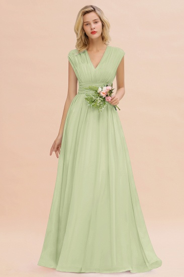 Elegant Chiffon V-Neck Ruffle Long Bridesmaid Dresses Affordable_35