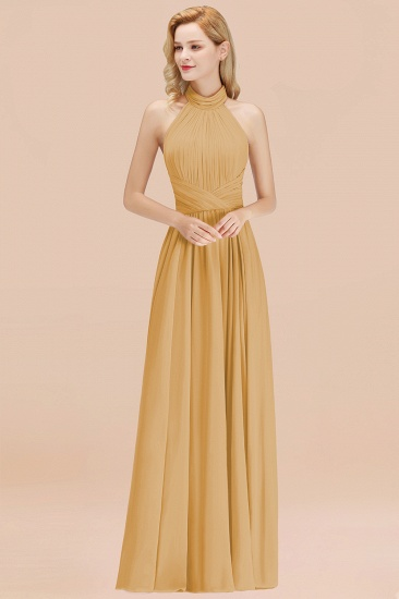 Gorgeous High-Neck Halter Backless Bridesmaid Dress Dusty Rose Chiffon Maid of Honor Dress_13