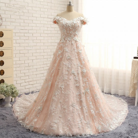 BMbridal Chic Off-the-shoulder Pink A-line Wedding Dresses With Appliques V-neck Lace Bridal Gowns Online_6