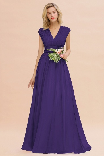 Elegant Chiffon V-Neck Ruffle Long Bridesmaid Dresses Affordable_19