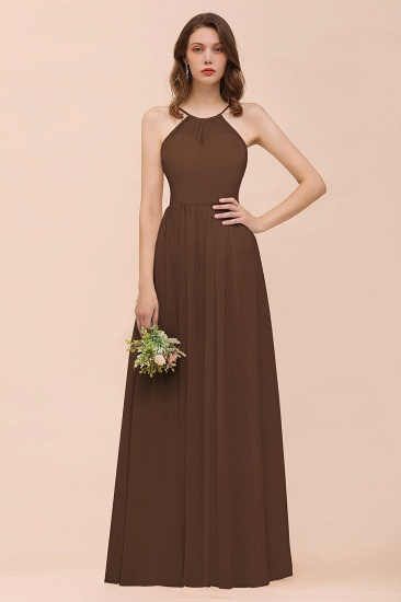 BMbridal Gorgeous Chiffon Halter Ruffle Affordable Long Bridesmaid Dress_12
