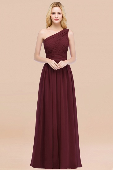 Chic One-shoulder Sleeveless Burgundy Chiffon Bridesmaid Dresses Online_10