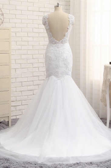 BMbridal Glamorous Jewel Sleeveless Tulle Wedding Dresses White Mermaid Satin Bridal Gowns With Appliques On Sale_3