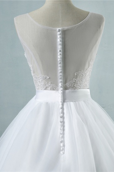 BMbridal Chic Square Neckling Sleeveless Wedding Dresses White Tulle Lace Bridal Gowns On Sale_7