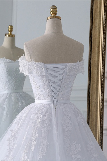 BMbridal Affordable White Off-the-shoulder Lace Wedding Dresses With Appliques Tulle Ruffles Bridal Gowns On Sale_6