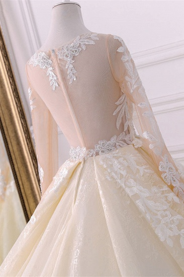 BMbridal Gorgeous Jewel Champagne Tulle Lace Wedding Dress Long Sleeves Appliques Bridal Gowns Online_5