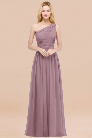 Chic One-shoulder Sleeveless Burgundy Chiffon Bridesmaid Dresses Online_43