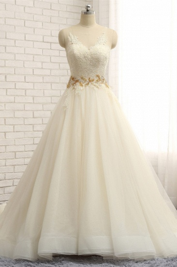 BMbridal Gorgeous Jewel Sleeveless A-Line Tulle Wedding Dress Lace Appliques Bridal Gowns with Beadings_1