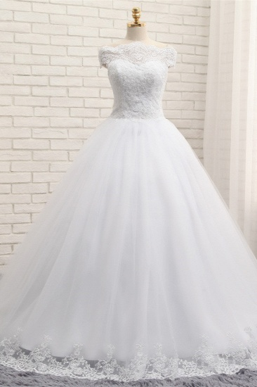 Modest Bateau Tulle Ruffles Wedding Dresses With Appliques A-line White Lace Bridal Gowns On Sale_2