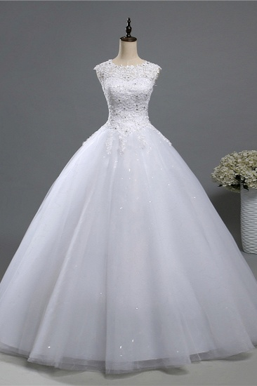 Chic Jewel Tulle Sequined Wedding Dress Sleeveless Appliques Beadings Bridal Gowns On Sale_4