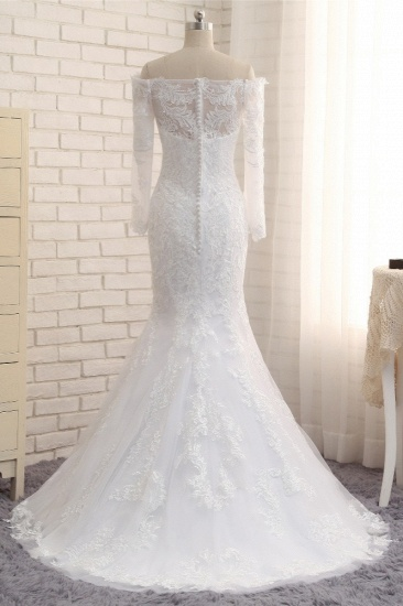 Unique Bateau Longsleeves A-line Wedding Dresses With Appliques White Tulle Bridal Gowns On Sale_5