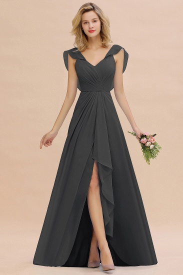Modest Hi-Lo V-Neck Ruffle Long Bridesmaid Dress with Slit_46