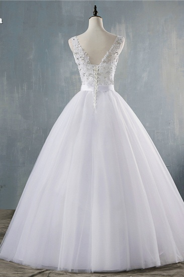 BMbridal Chic Starps V-Neck Beadings Tulle Wedding Dress Sleeveless Appliques Bridal Gowns with Rhinestones_3