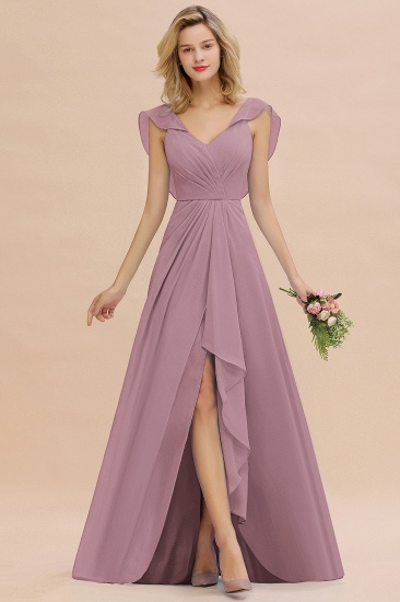Modest Hi-Lo V-Neck Ruffle Long Bridesmaid Dress with Slit_43