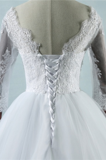 Elegant Jewel Tulle Lace Wedding Dress 3/4 Sleeves Appliques A-Line Bridal Gowns On Sale_5