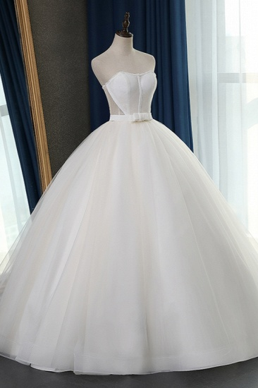 Sexy Strapless Sweetheart Wedding Dress Ball Gown Sleeveless White Tulle Bridal Gowns On Sale_4
