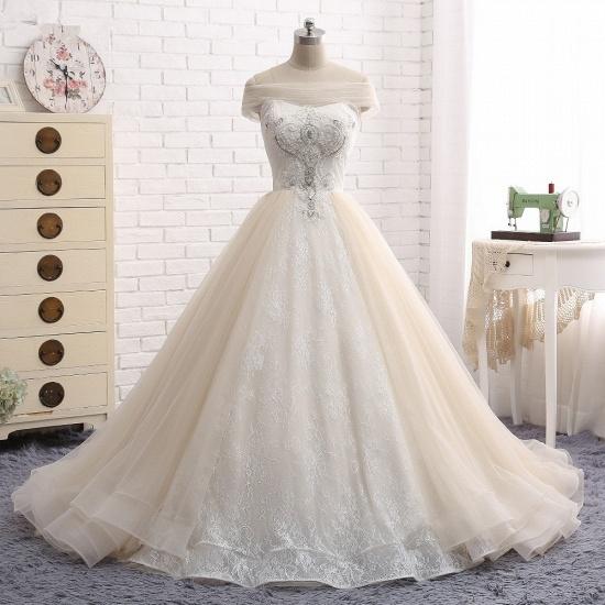 BMbridal Unique Champagne Bateau Lace Wedding Dresses With Appliques Tulle Ruffles Bridal Gowns Online_7