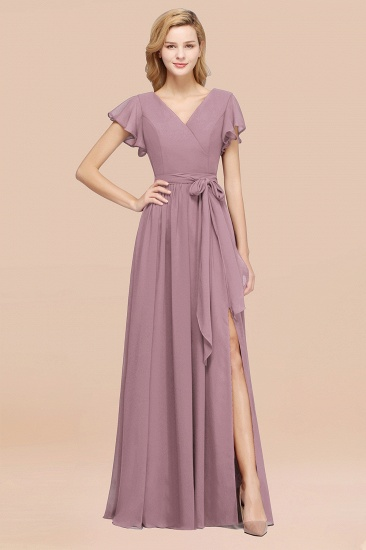 Burgundy V-Neck Long Bridesmaid Dress With Short-Sleeves_43
