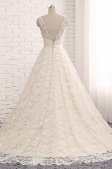 Chic Champagne Jewel Sleeveless Wedding Dresses A-line Lace Bridal Gowns With Appliques On Sale_3