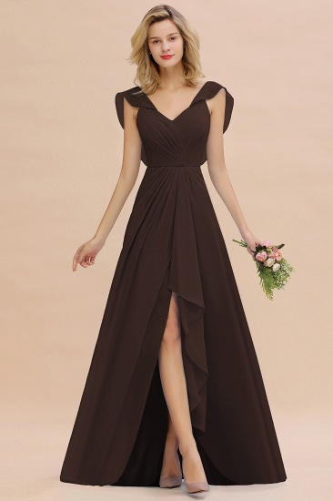 Modest Hi-Lo V-Neck Ruffle Long Bridesmaid Dress with Slit_11
