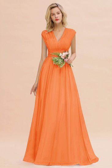 Elegant Chiffon V-Neck Ruffle Long Bridesmaid Dresses Affordable_15