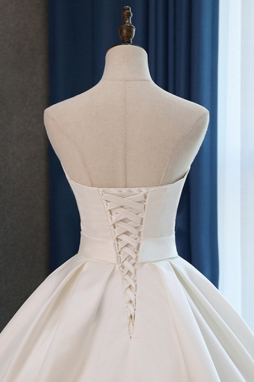 Elegant Sweetheart White Satin Wedding Dress A-line Ruffles Bridal Gowns On Sale_5