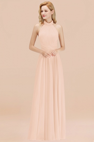 BMbridal Gorgeous High-Neck Halter Backless Bridesmaid Dress Dusty Rose Chiffon Maid of Honor Dress_5