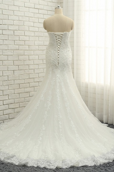 BMbridal Elegant Bateau White Mermaid Wedding Dresses With Appliques Ruffles Lace Bridal Gowns On Sale_3