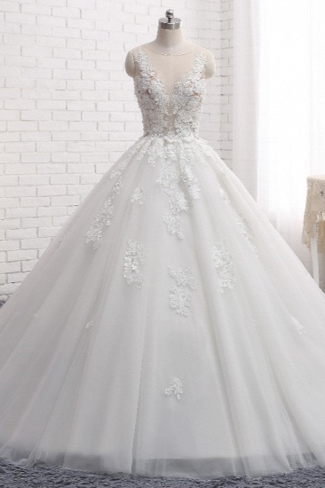 Elegant Straps Sleeveless White Wedding Dresses With Appliques A line Tulle Bridal Gowns On Sale_2