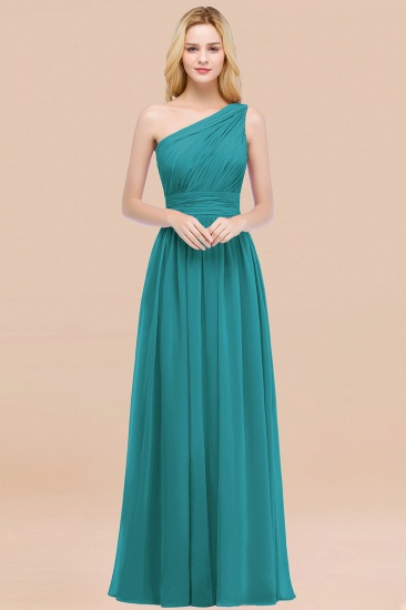 Chic One-shoulder Sleeveless Burgundy Chiffon Bridesmaid Dresses Online_32