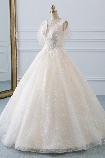 BMbridal Gorgeous Ball Gown V-Neck Tulle Beadings Wedding Dress Rhinestones Appliques Bridal Gowns with Short Sleeves On Sale_4
