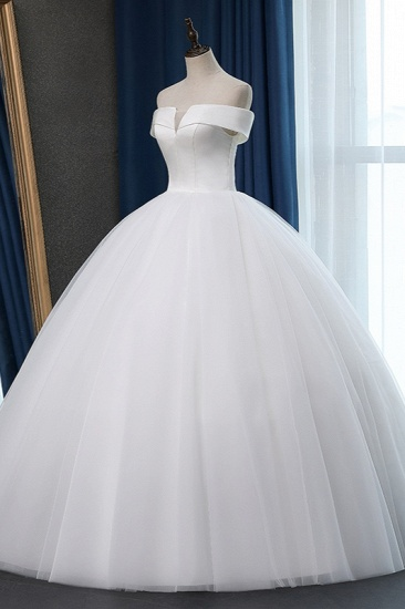 Glamorous Off-the-shoulder A-line Tulle Wedding Dresses White Ruffles Bridal Gowns On Sale_5