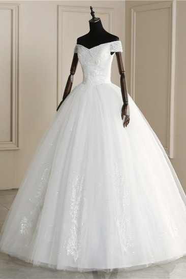Affordable Off-the Shoulder Sweetheart Tulle Wedding Dress Appliques Sleeveless Bridal Gowns with Pearls_5