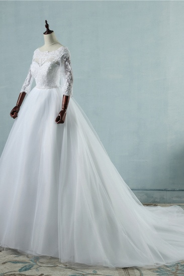 Elegant Jewel Tulle Lace Wedding Dress 3/4 Sleeves Appliques A-Line Bridal Gowns On Sale_4