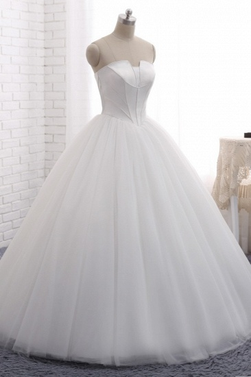 BMbridal Chic Ball Gown Strapless White Tulle Wedding Dress Sleeveless Bridal Gowns On Sale_4