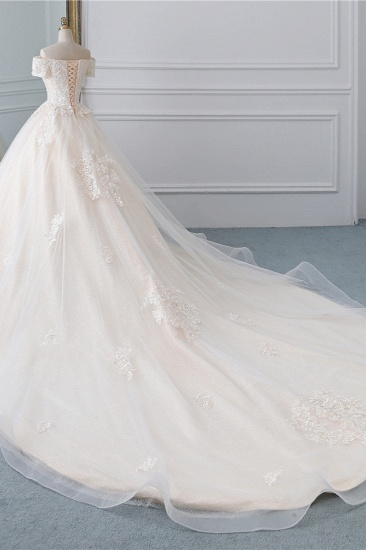 Affordable Off-the-Shoulder White Tulle Lace Wedding Dress Sweetheart Appliques Bridal Gowns On Sale_4